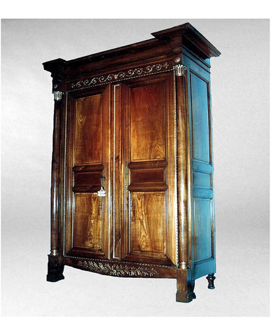 LOUIS XVI CHERRYWOOD  AND PARCEL GILT ARMOIRE