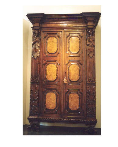 ITALIAN BAROQUE WALNUT AND OLIVE WOOD ARMOIRE