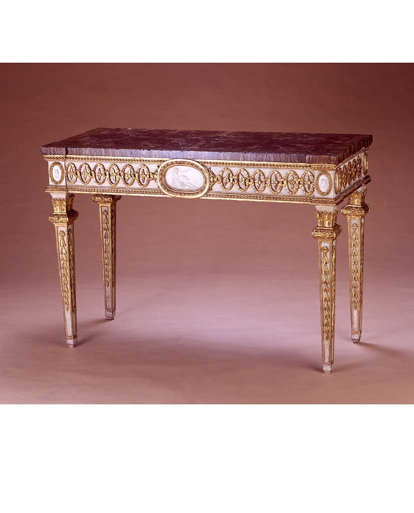 ITALIAN NEOCLASSIC PORCELAIN MOUNTED WHITE PAINTED AND PARCEL GILT CONSOLE