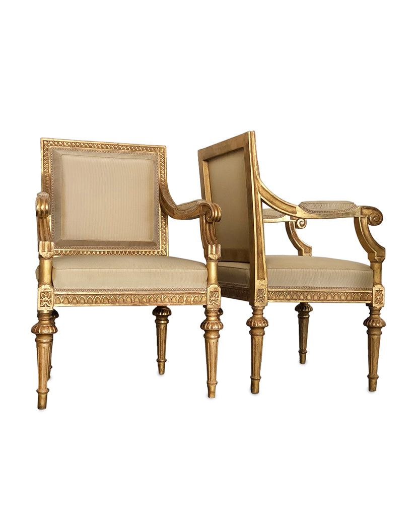 PAIR SWEDISH GUSTAVIANSK  GILTWOOD FAUTEUILS