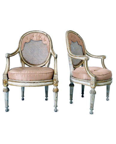 PAIR ITALIAN LOUIS XVI PAINT AND PARCEL GILT FAUTEUILS