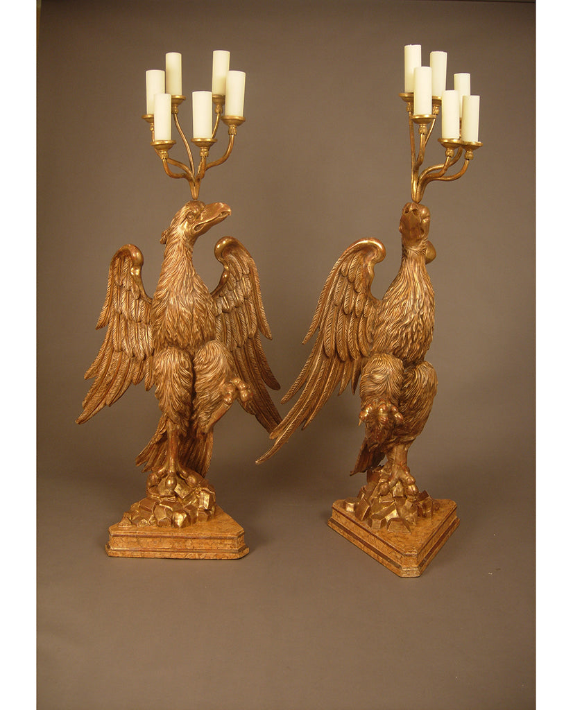 PAIR ITALIAN BAROQUE PAINTED AND PARCEL GILT TORCHERES