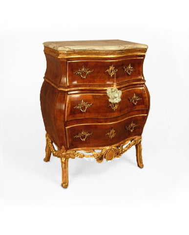 NORWEGIAN ROCOCO WALNUT AND PARCEL GILT COMMODE