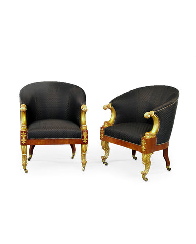 PAIR ITALIAN SECOND EMPIRE  MAHOGANY AND PARCEL GILT BERGERES