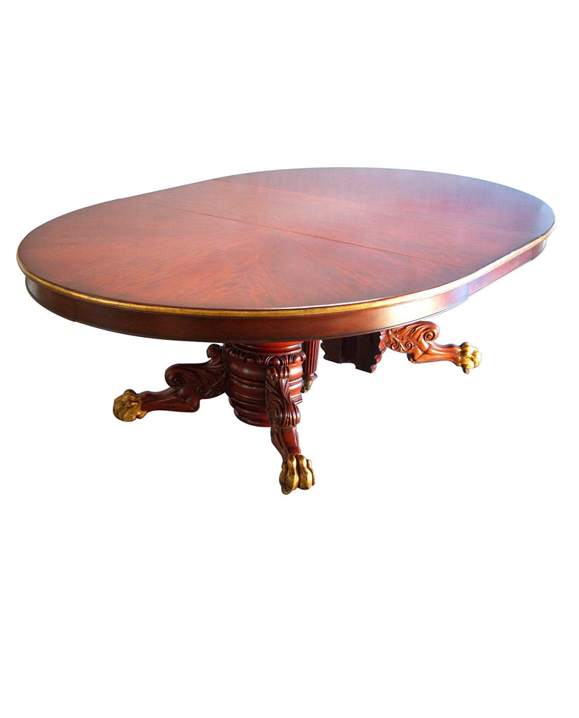GEORGE IV MAHOGANY AND PARCEL GILT EXTENDING TABLE