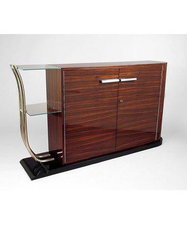 GERMAN ART MODERNE ROSEWOOD AND BLACK LACQUER CREDENZA