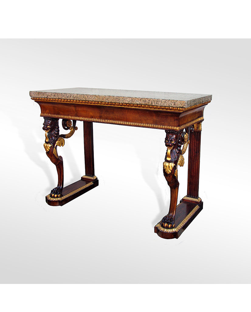 WALNUT AND PARCEL GILT CONSOLE