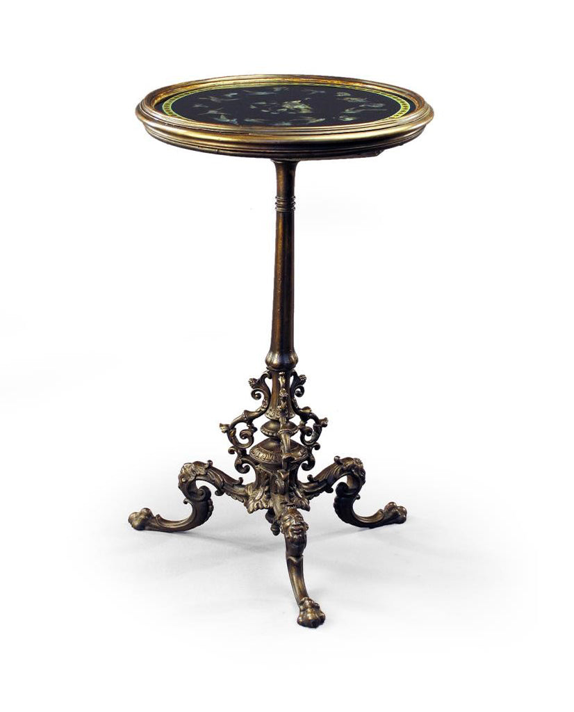 GERMAN NEOCLASSIC STYLE BRONZED IRON EGLOMISE AND NACREOUS INLAID TABLE