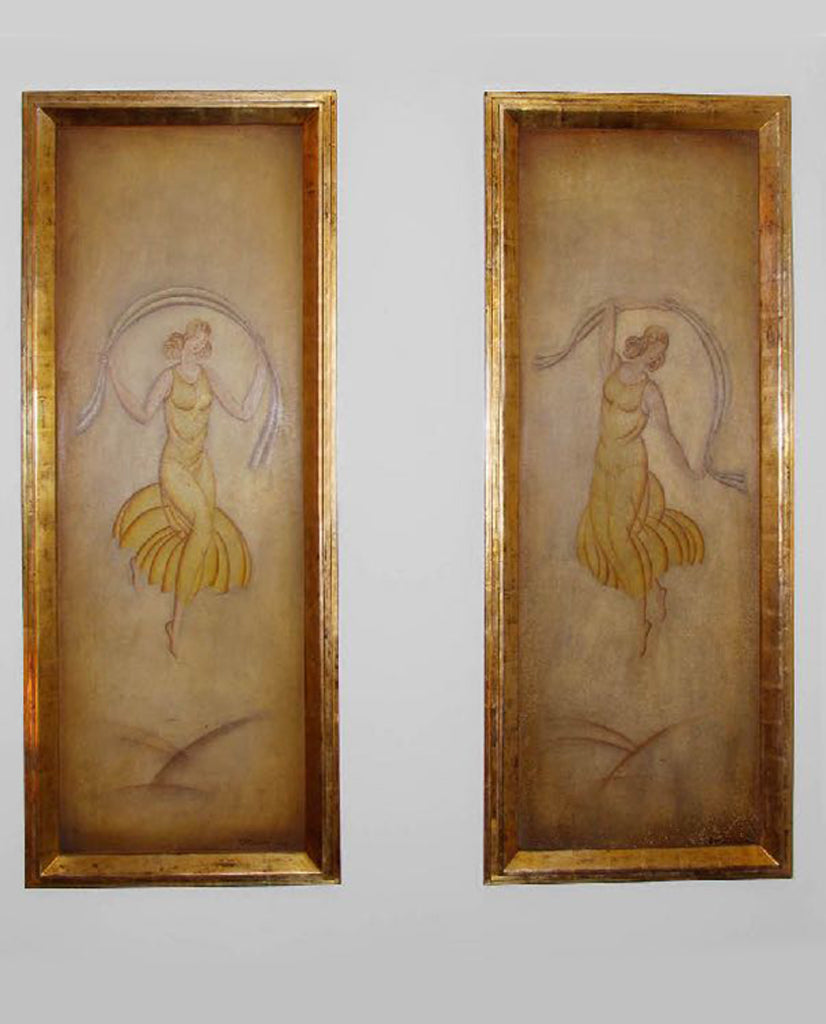 PAIR ITALIAN ART DECO  PAINTED PANELS