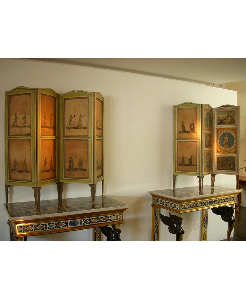PAIR ITALIAN NEOCLASSIC  PAINTED AND LACCA POVERA SCREENS