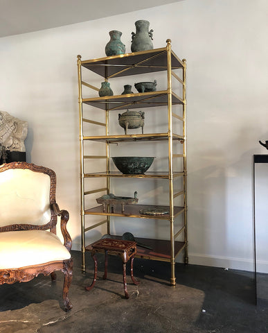 COLE PORTER BRASS AND LACQUERED WOOD ETAGERE