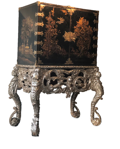 JAPANESE BLACK LACQUERED CABINET ON SILVERGILT DUTCH BAROQUE STAND