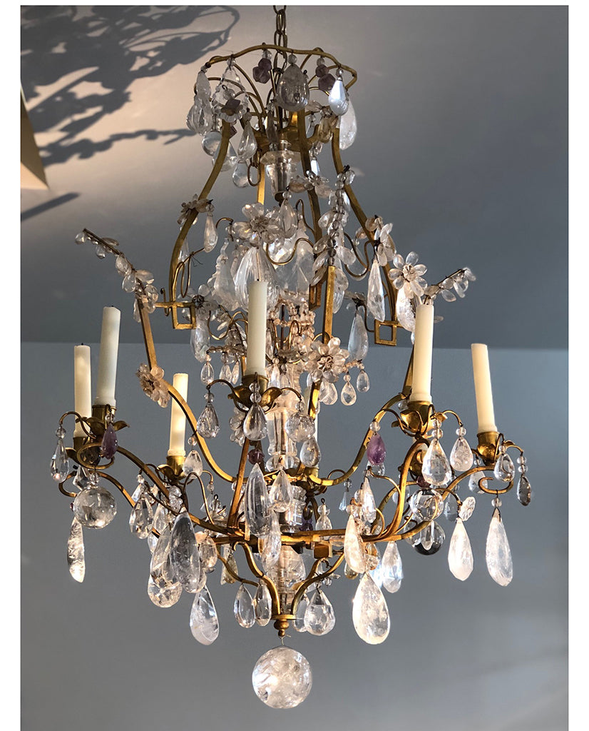 LOUIS XV GILT BRONZE AND ROCK CRYSTAL CHANDELIER
