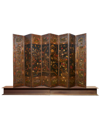 DUTCH BAROQUE POLYCHROME PAINTED AND GILT LEATHER EIGHT PANEL SCREEN