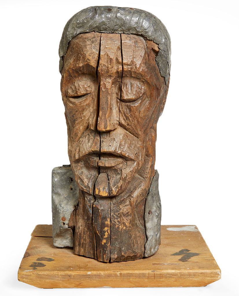 FOLK ART PINE AND LEAD BUST