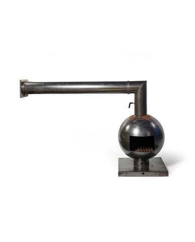"DRIES KREIJKAMP ""FIREBALL"" BRUTALIST STEEL FIREPLACE"