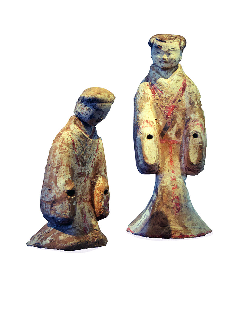 PAIR WESTERN HAN EARTHENWARE PAINTED  COURT FIGURES