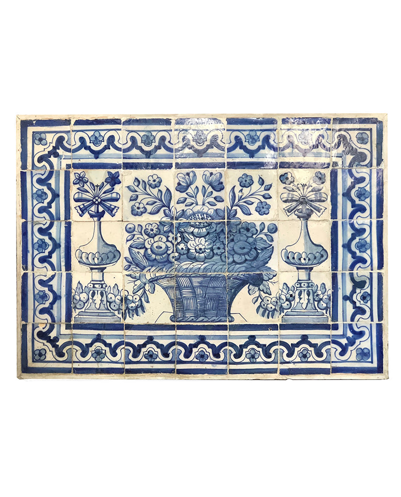 PORTUGUESE BAROQUE BLUE AND WHITE TILE PANEL