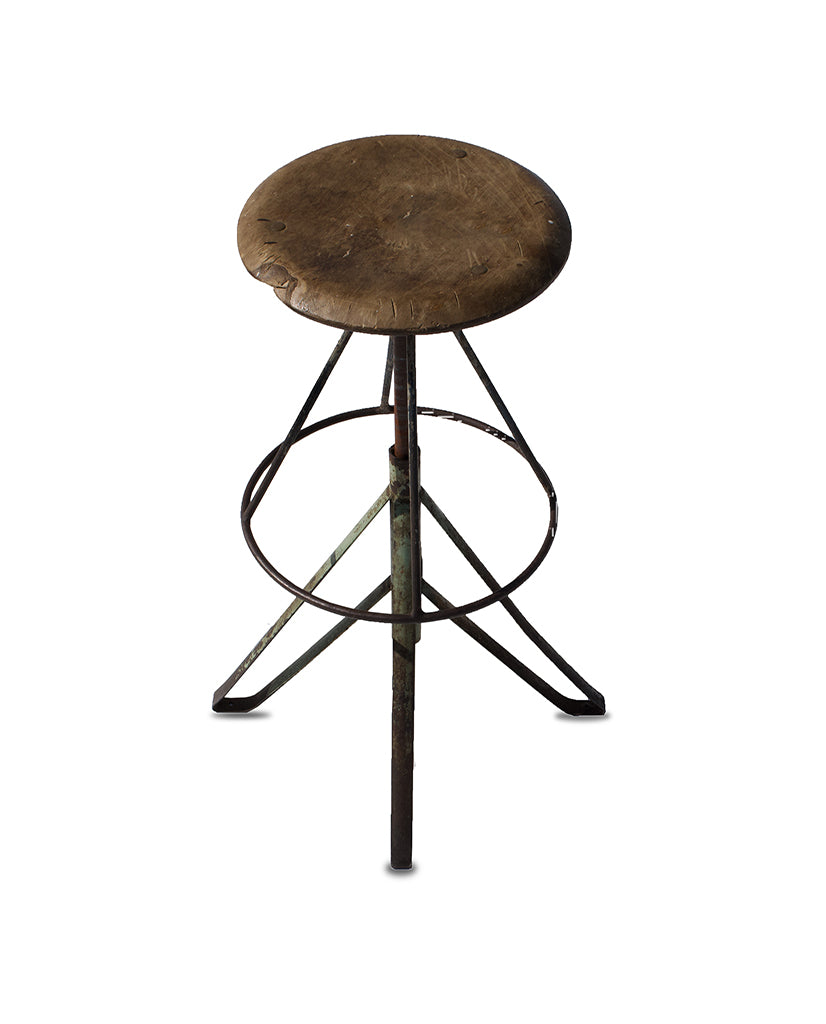 ADJUSTABLE PINE  AND PAINTED IRON STOOL
