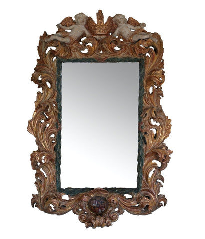 AUSTRIAN BAROQUE PAINTED AND PARCEL GILT MIRROR