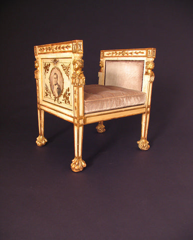 ITALIAN EMPIRE PAINTED AND  PARCEL GILT BENCH