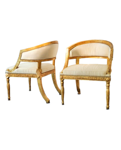 PAIR GUSTAVIANSK GILTWOOD ARMCHAIRS