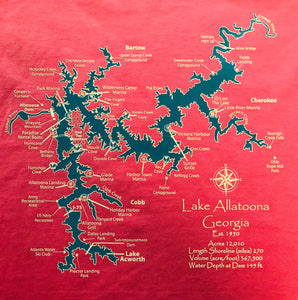LAKE ALLATOONA LAKE MAP T-Shirt