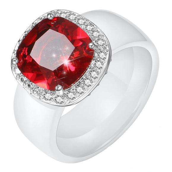 Luna Red Crystal Silver Sterling Ring
