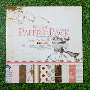 (12 Types) 12 inch Background Pattern Paper With Stickers <24 PCS>