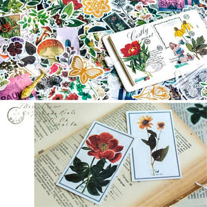 (8 types) DIY Natural Plant Series Decor Stickers <60 PCS>