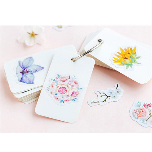 (8 types) Natural Flower language series Stickers <45 PCS>