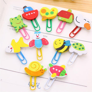 (12PCS)Creative Office& School Supplies Cute Woodiness Cartoon Animals Paper Clips