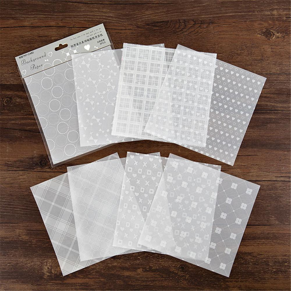 (6 Types) 6-Inch DIY White Ink Metallic Scrapbooking Translucent Papers <8 PCS>