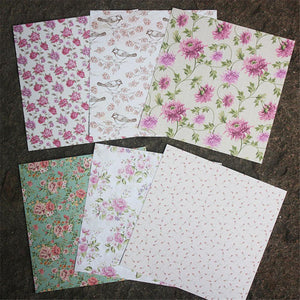 6 Inch BRONTE CHARM Flower Theme Background Pattern Paper<24 PCS>