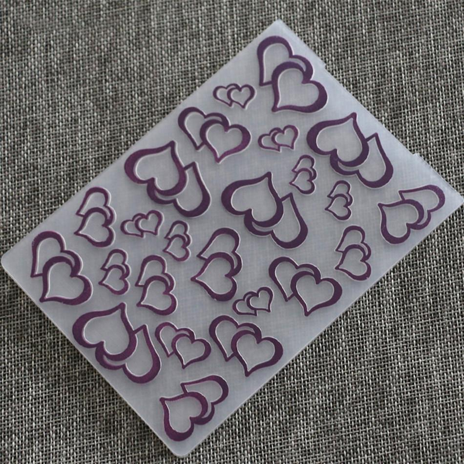 1PCS Plastic Heart Shaped  Embossing Folder