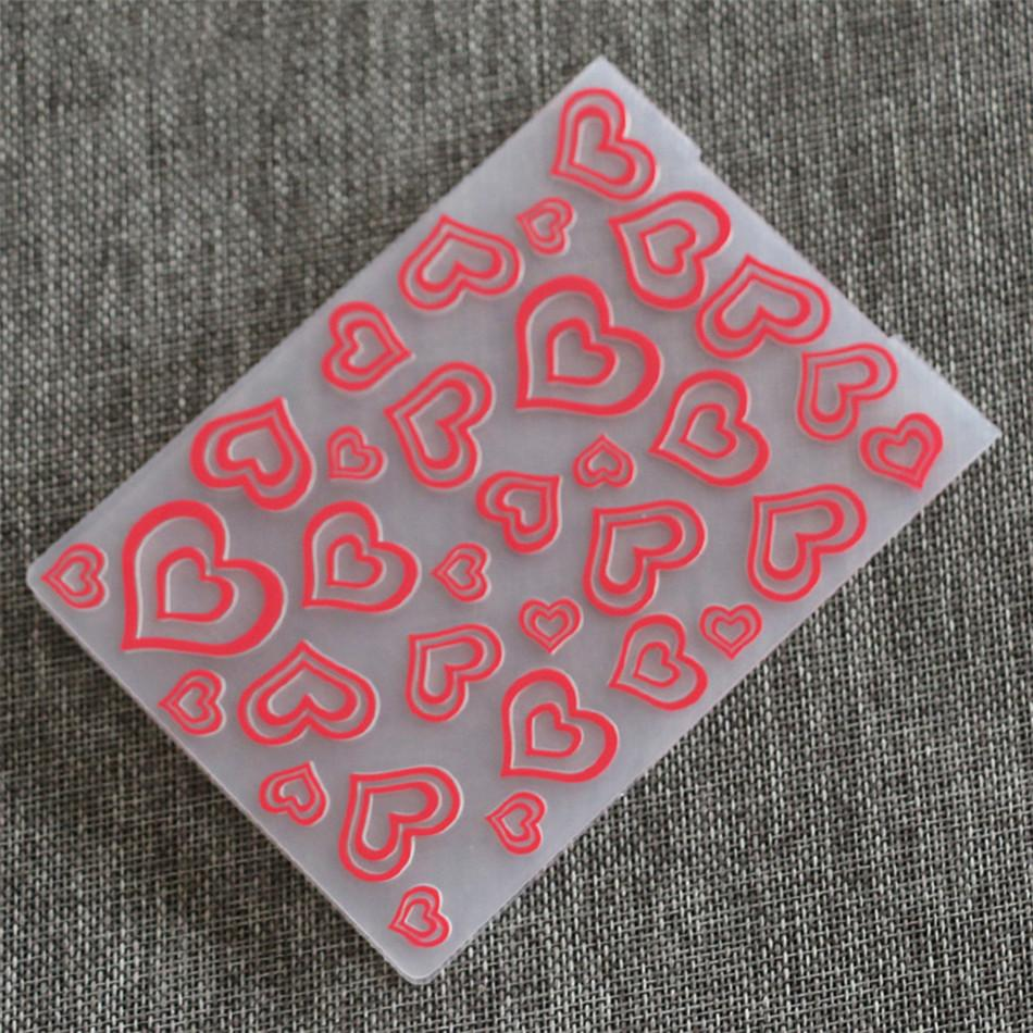 1PCS Plastic Heart  Embossing Folder