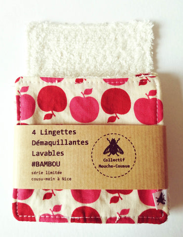4 Lingettes démaquillantes lavables bambou - Pop Apple -