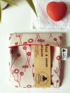 Etui à savon - red flower -