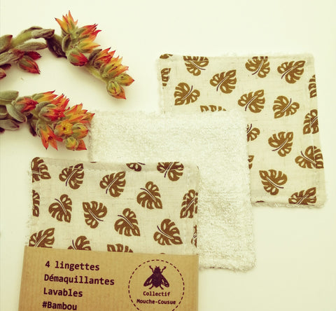 4 Lingettes démaquillantes lavables bambou - sweet Monstera -
