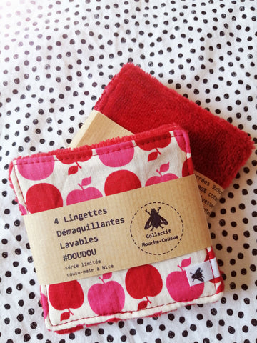 4 Lingettes démaquillantes lavables doudou - Pop Apple -