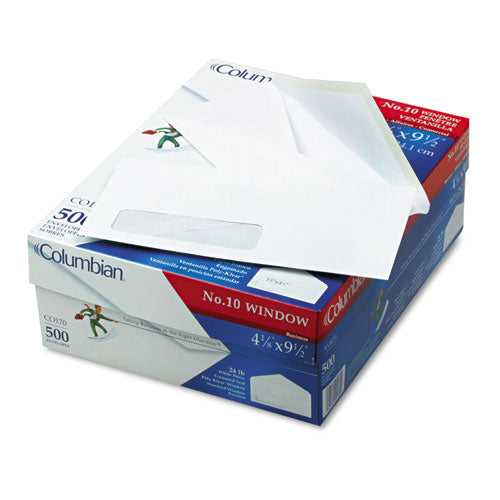 Poly-Klear Single Window Envelope, #10, Bankers Flap, Gummed Closure, 4.13 x 9.5, White, 500/Box