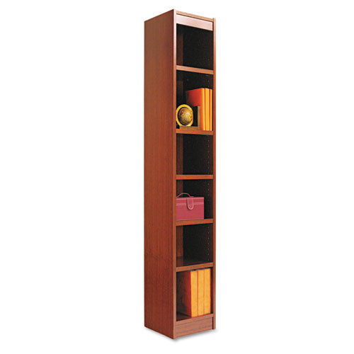 Narrow Profile Bookcase, Wood Veneer, Six-Shelf, 11.81