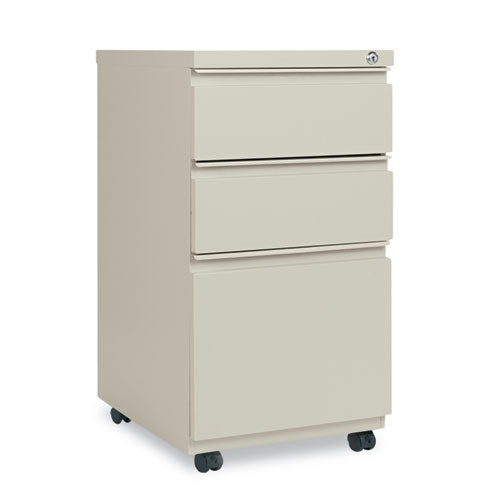 Three-Drawer Metal Pedestal File With Full-Length Pull, 14.96w x 19.29d x 27.75h, Putty