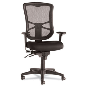Alera Elusion Series Mesh High-Back Multifunction Chair, Supports up to 275 lbs., Black Seat/Black Back, Black Base