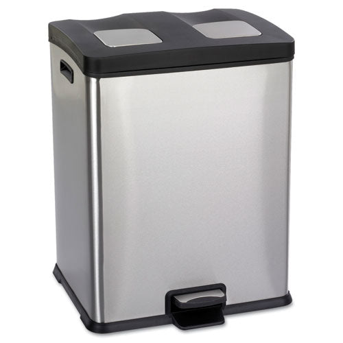 Right-Size Recycling Station, Rectangular, Steel/Plastic, 15 gal, Stainless/Black