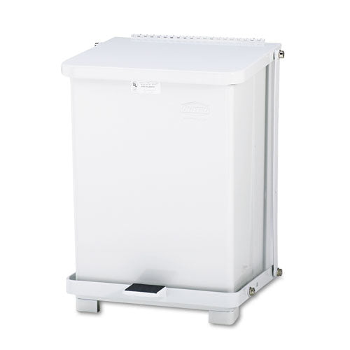 Defenders Biohazard Step Can, Square, Steel, 7 gal, White