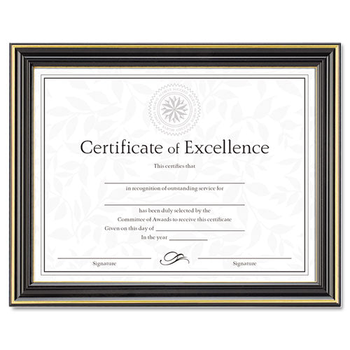 Gold-Trimmed Document Frame w/Certificate, Plastic/Glass, 8 1/2 x 11, Black