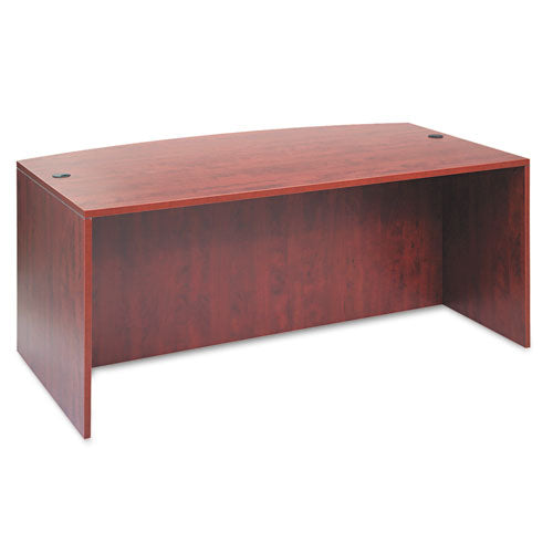 Alera Valencia Bow Desk Shell, 70 7/8w x 35 1/2d to 41 3/8d x 29 1/2h, Medium Cherry