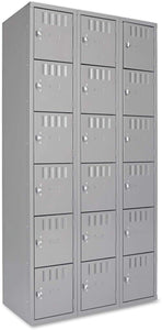 TENNSCO Box Locker, Gray, 36in.Wx18in.Dx72in.H