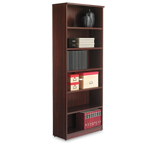 Alera Valencia Series Bookcase, Six-Shelf, 31 3/4w x 14d x 80 1/4h, Mahogany